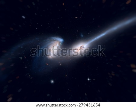 Mice Galaxies (NGC 4676). Two colliding spiral galaxies in the constellation Coma Berenices. Galaxy with long tails of stars. Retouched image with small DOF. Elements of this image furnished by NASA. - stock photo