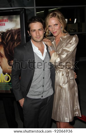 "Michael Angarano and Uma Thurman at the ""Ceremony"" Los Angeles Premiere, Arclight, Hollywood, CA. 03-22-11 - stock photo"