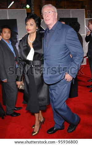 """MICHAEL CAINE & wife SHAKIRA at the world premiere, in Hollywood, of his new movie """"The Prestige"""". October 17, 2006  Los Angeles, CA Picture: Paul Smith / Featureflash - stock photo"""
