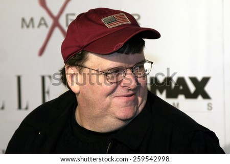 """Michael Moore at the """"The Aviator"""" Los Angeles Premiere held at the Grauman's Chinese Theatre in Hollywood, California, United States on December 1, 2004. - stock photo"""