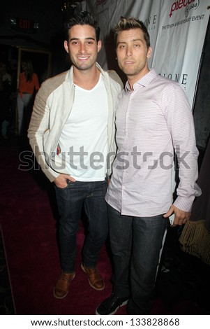 """Michael Turchin, Lance Bass at the """"Pieces(Of Ass)"""" Opening Night Los Angeles Performance, Fonda Theatre, Hollywood, CA 03-28-13 - stock photo"""