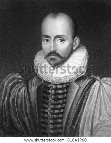 Michel de Montaigne (1533-1592). Engraved by C.E.Wagstaff and published in The Gallery Of Portraits With Memoirs encyclopedia, United Kingdom, 1833. - stock photo