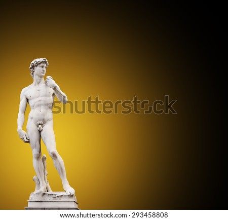 Michelangelo's David. On brown background - stock photo