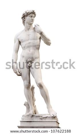 Michelangelo's David, Piazza della Signoria, Firenze, Italy. Isolated over white - stock photo
