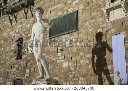 Michelangelo's replica David statue. Florence, Tuscany, Italy  - stock photo