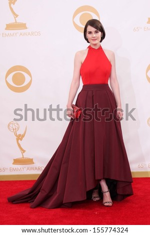Michelle Dockery at the 65th Annual Primetime Emmy Awards Arrivals, Nokia Theater, Los Angeles, CA 09-22-13 - stock photo