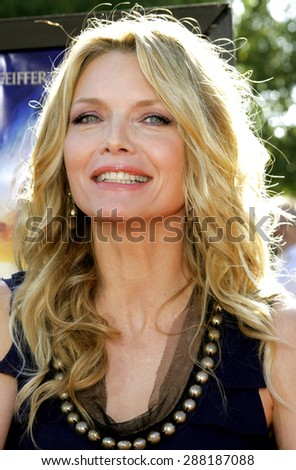 """Michelle Pfeiffer attends the Los Angeles Premiere of """"Stardust"""" held at the Paramount Pictures Studios in Hollywood, California, on July 29, 2007.  - stock photo"""