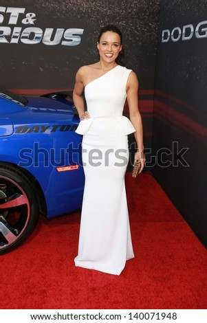 """Michelle Rodriguez at the """"Fast And Furious 6"""" Los Angeles Premiere, Gibson Amphitheatre, Universal City, CA  05-21-13 - stock photo"""