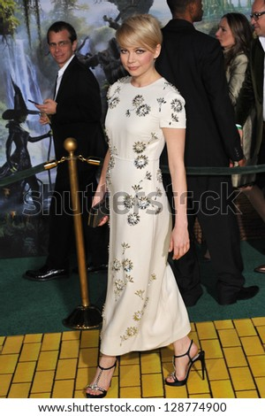 """Michelle Williams at the world premiere of her movie """"Oz: The Great and Powerful"""" at the El Capitan Theatre, Hollywood. February 13, 2013  Los Angeles, CA Picture: Paul Smith - stock photo"""