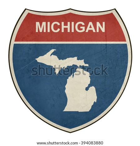 Michigan American interstate highway road shield isolated on a white background. - stock photo