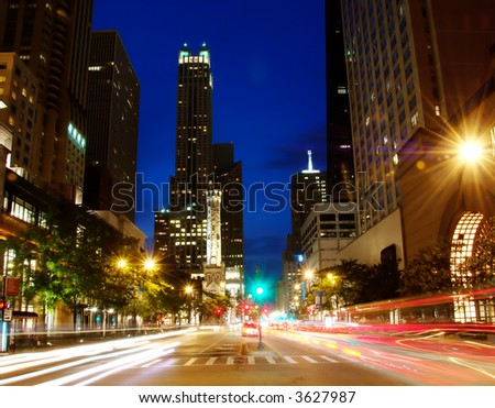 Michigan Ave in downtown Chicago at night.