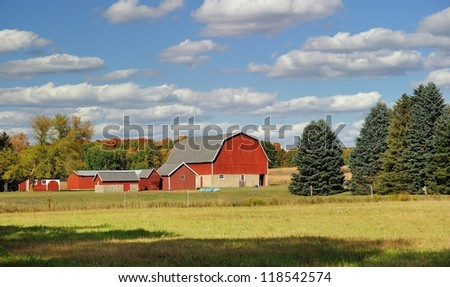 Michigan countryside farm and barns taken in Autumn, USA - stock photo
