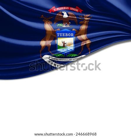 Michigan flag and white background - stock photo