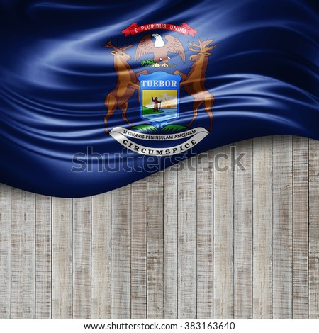 Michigan of silk with copyspace for your text or images and wood background - stock photo