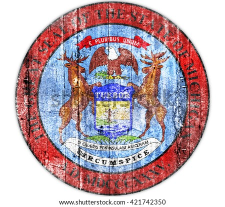 Michigan seal concrete flag - stock photo