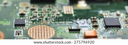 micro electronics develop and manufacturing background (hardware) - stock photo