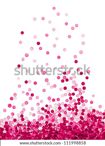 Micro red particles in liquid. floating up, high magnification macro. - stock photo