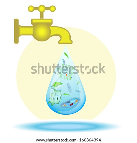 Microbes in drop of dirty water - stock photo