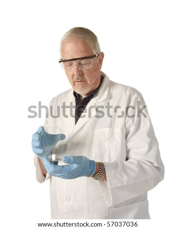 microbiologist or medical scientist looking into petri dish - stock photo