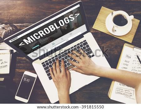 Microblogs Blogging Social Media Online Concept - stock photo