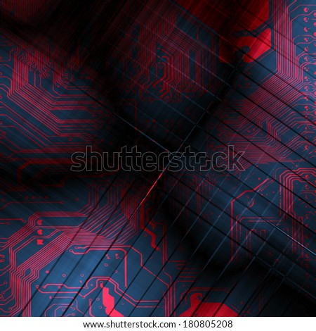Microchip background - close-up of electronic circuit board with processor - stock photo