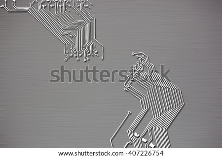 Microchip background close-up of electronic circuit board with processor - stock photo