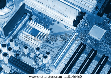 Microchip background - close-up of electronic circuit board with processor. X-Ray - stock photo