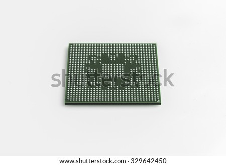 microchip bga with lead balls for repair computer equipment - small DoF focus put only to pier - stock photo