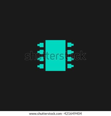 Microchip Flat icon on black background. Simple symbol - stock photo