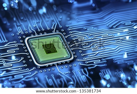 microchip integrated on motherboard - stock photo