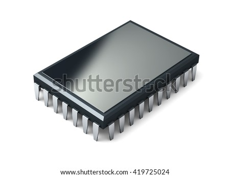 Microchip isolated on white background. 3d render.  - stock photo