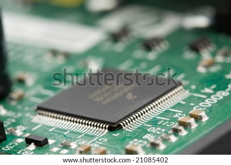 microchip on circuitboard closeup shoot
