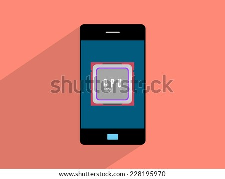 Microchip   on smartphone,cell phone illustration