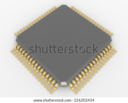 Microchip with gold plating on the contacts isolated on white background - stock photo