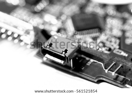 Microcircuits of the computer chip close up