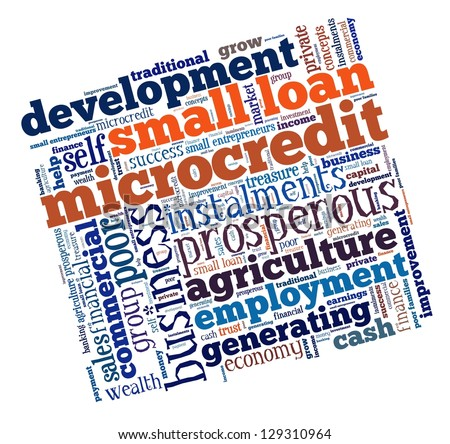 Microcredit in word collage - stock photo