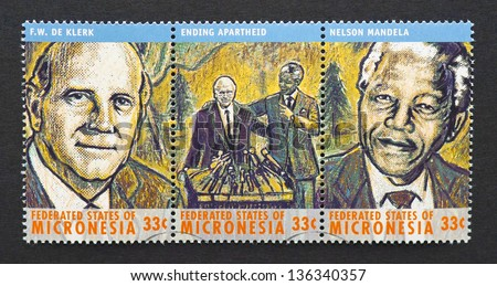 MICRONESIA - CIRCA 2000: three postage stamps printed in Micronesia showing images of Nobel Peace prize winners Nelson Mandela and Frederick Willem De Klerk, circa 2000.