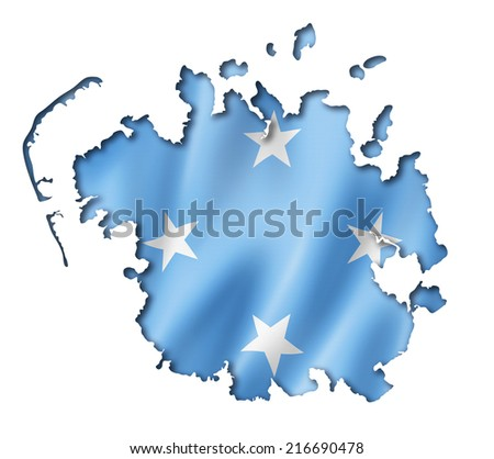 Micronesia flag map, three dimensional render, isolated on white - stock photo