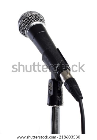Microphone against white background