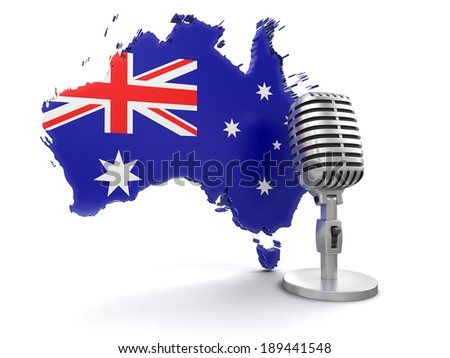 Microphone and Australia (clipping path included) - stock photo