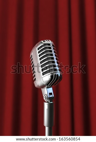 Microphone and curtain - stock photo
