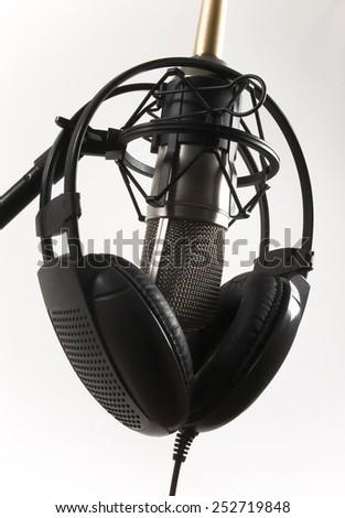 microphone and headphones - stock photo