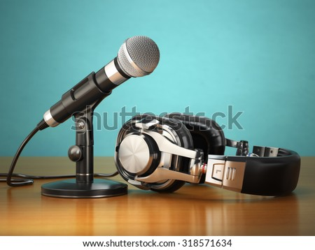 Microphone and headphones. Audio recording or radio commentator concept. 3d - stock photo