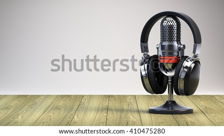 Microphone and headphones on wooden table - 3d render - stock photo