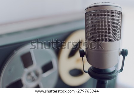 microphone and old tape recorder