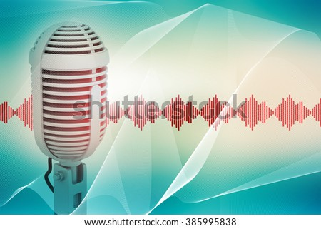 Microphone and sound waves on abstract blue background