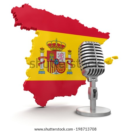 Microphone and Spain - stock photo
