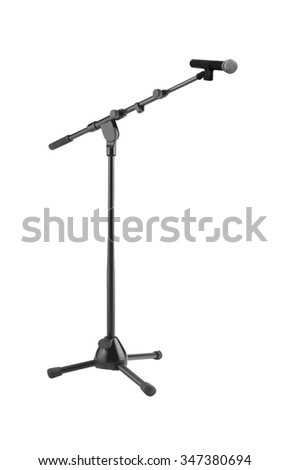 Microphone and stand isolated on white background - stock photo
