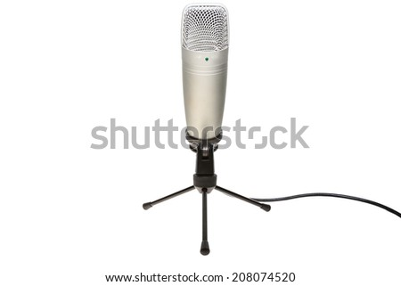 microphone and stand with cable isolated on white background from front view - stock photo