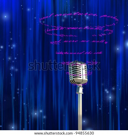 Microphone and swirling text - stock photo